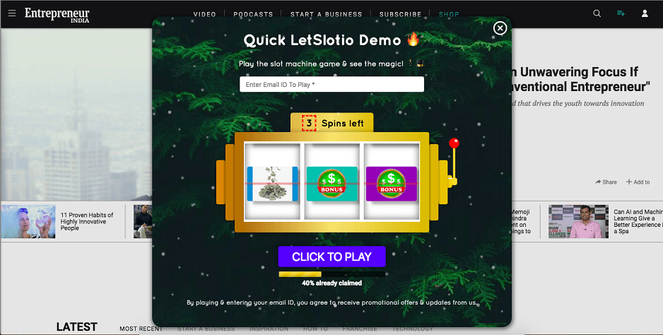 LetSlotio Slot Machine on Entrepreneur.com's Website